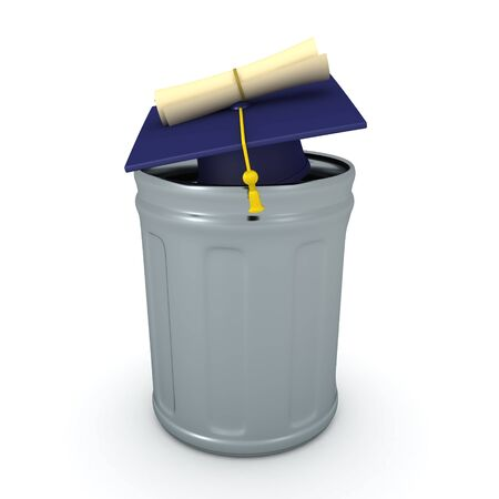 3D Rendering of diploma and graduation hat in a garbage can. 3D Rendering isolated on white.