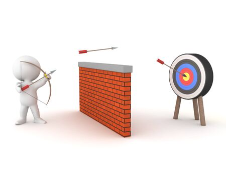 3D Character fires arrows over walls and strikes target. 3D Rendering isolated on white. 스톡 콘텐츠 - 131982092