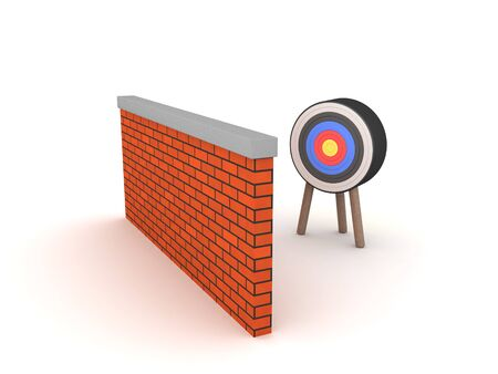 3D Rendering of a target behind a brick wall. 3D Rendering isolated on white.