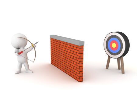 3D Archer firing arrow over wall towards target. 3D Rendering isolated on white.