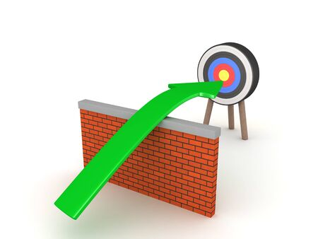 3D Arrow over wall pointing towards target. 3D Rendering isolated on white. 스톡 콘텐츠 - 131982098