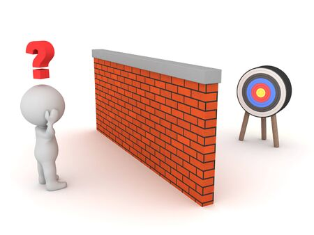 3D Character thinking about how to reach target behind wall. 3D Rendering isolated on white.