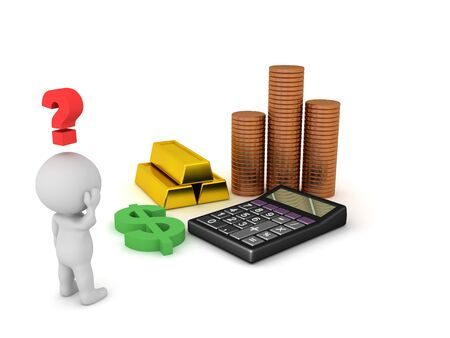 3D Character looking at money related objects. 3D Rendering isolated on white.