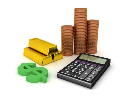 3D Rendering of cash, coins, gold bars and calculator. 3D Rendering isolated on white.