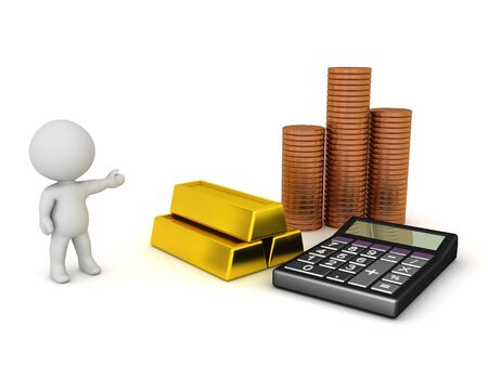 3D Character showing money and finance related objects. 3D Rendering isolated on white.