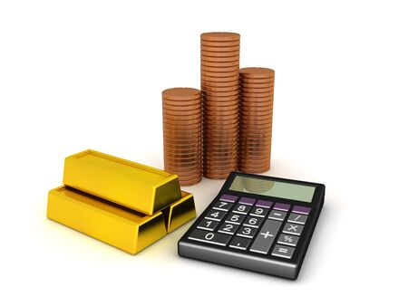 3D Rendering of coins, calculator and gold bars. 3D Rendering isolated on white. Imagens