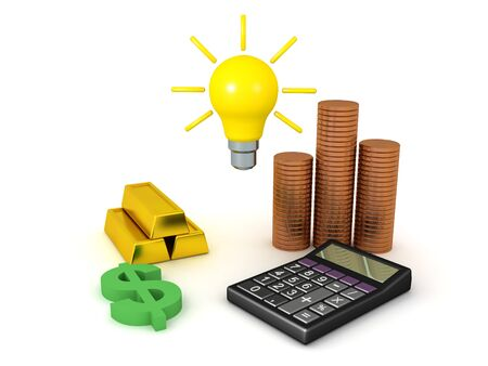 3D Rendering of money related objects with idea lightbulb above. Business idea concept. 3D Rendering isolated on white.