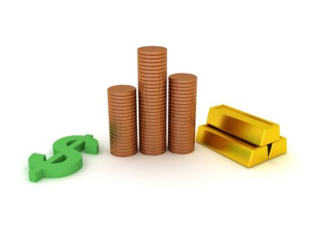 3D Rendering of gold bars, coins and dollar symbol. 3D Rendering isolated on white. Imagens