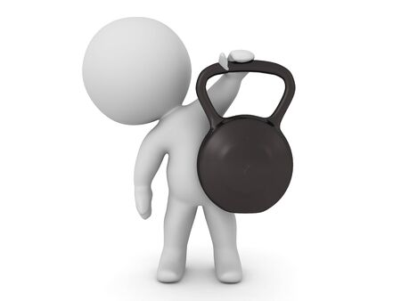 3D Character lifting a kettlebell. 3D Rendering isolated on white.