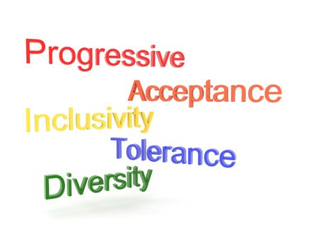 3D Texts saying progressive, acceptance, tolerance, inclusivity and diversity. 3D Rendering isolated on white. Stock fotó - 131982154