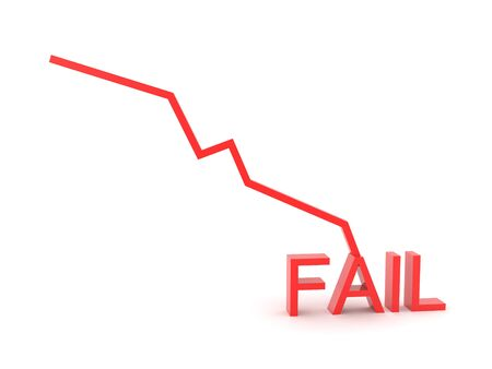 3D Chart graph showing failure and decline. 3D Rendering isolated on white.