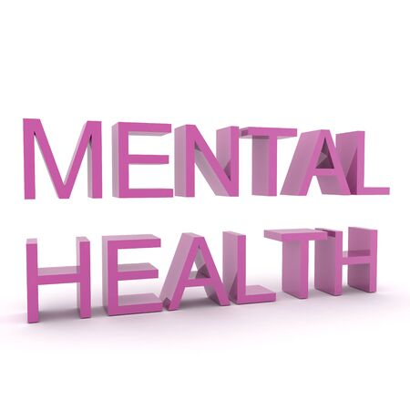 3D Text saying Mental health. 3D Rendering isolated on white. Stock Photo