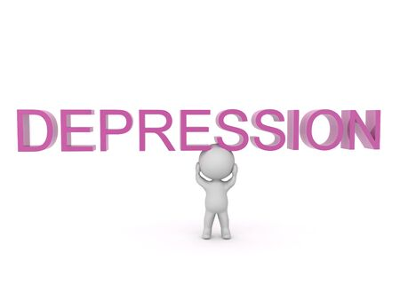 3D Character with text saying depression above him. 3D Rendering isolated on white.