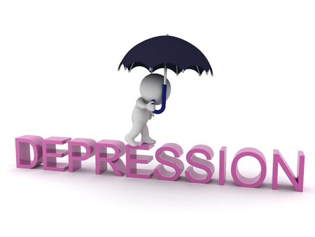 3D Character with umbrella walking on text saying Depressed. 3D Rendering isolated on white.