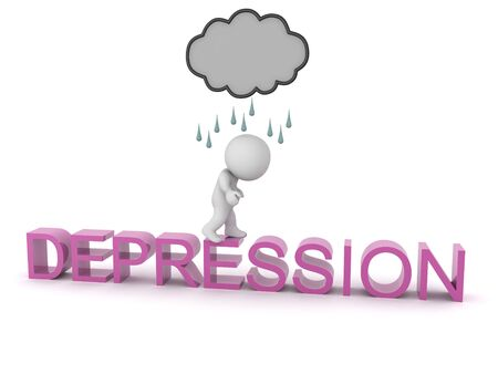3D Character with rain cloud above walking on text saying depression. 3D Rendering isolated on white.