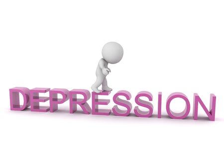 3D Sad Character standing on text saying depression. 3D Rendering isolated on white.