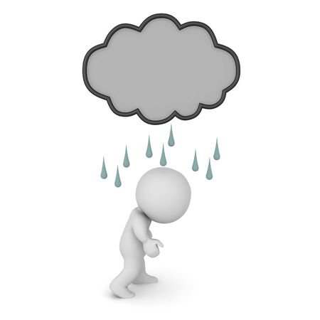 3D Depressed character with dark rain cloud above him. 3D Rendering isolated on white. Stock Photo