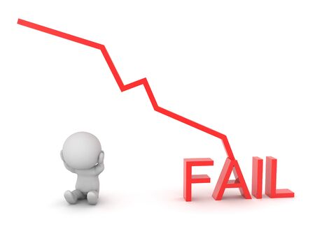 3D Character next to chart graph showing failure. 3D Rendering isolated on white. 스톡 콘텐츠