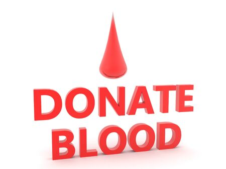 3D Text saying donate blood with big blood droplet above. 3D Rendering isolated on white. 版權商用圖片