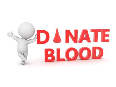 3D Character leaning on text saying donate blood. 3D Rendering isolated on white. 版權商用圖片