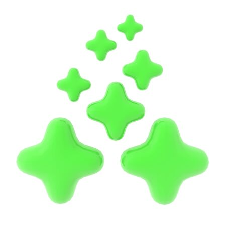 3D Rendering of many shiny green crosses. The crosses symbolize healing. 3D Rendering isolated on white. Stock Photo