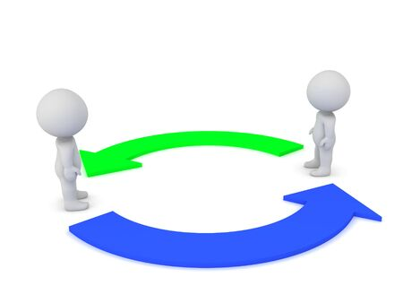 Two 3D Characters with green and blue arrows circled around them. 3D Rendering isolated on white.