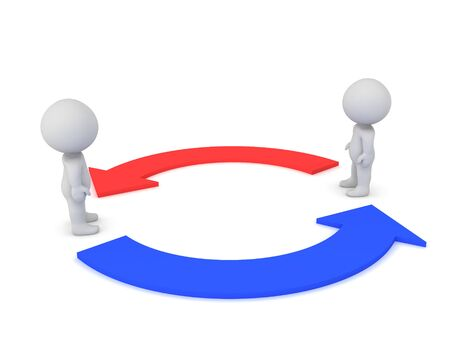 Two 3D Characters with red and blue arrows circled around them. 3D Rendering isolated on white.
