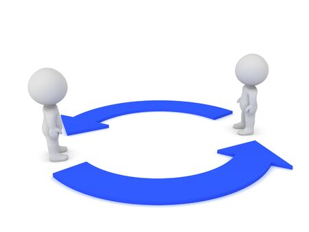 3D Characters with blue arrows circling them. Image depicting feedback loop. 3D Rendering isolated on white.