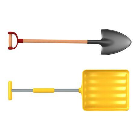 3D Rendering of shovel and now shovel. 3D Rendering isolated on white. 版權商用圖片