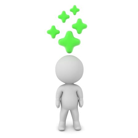 3D Character with many green crosses above him. The crosses symbolize the fact he is healed. 3D Rendering isolated on white.