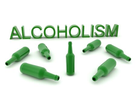 3D Rendering showing alcohol addiction. 3D Rendering isolated on white.