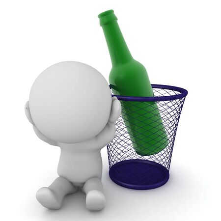 3D Character is stressed because he is an alcoholic. 3D Rendering isolated on white.