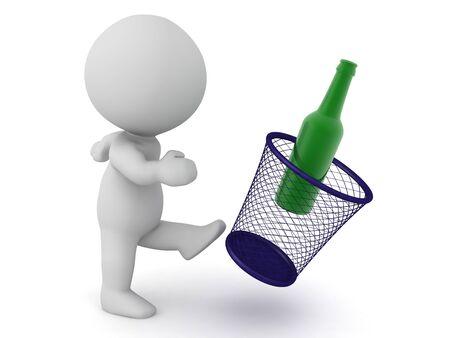 3D Character versucht, die Gewohnheit, Alkohol zu trinken, aufzugeben. Wiedergabe 3D getrennt auf Weiß.