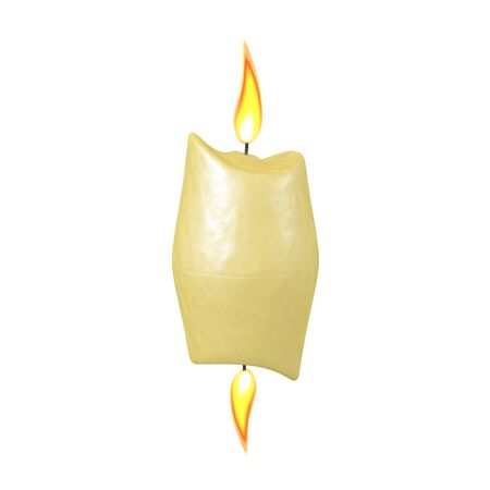 3D Rendering of candle being burned at both ends. 3D Rendering isolated on white.