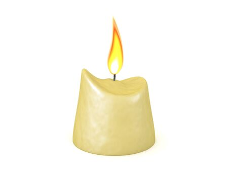 3D Rendering of consumed lit candle. 3D Rendering isolated on white.