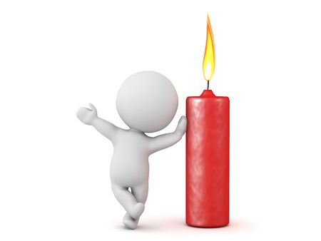 3D Character leaning on red candle. 3D Rendering isolated on white.