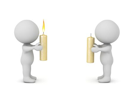 Two 3D Character holding candles, one is lit the other is not. 3D Rendering isolated on white. 版權商用圖片