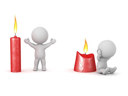 3D Candles conveying the energy level of two characters. 3D Rendering isolated on white.