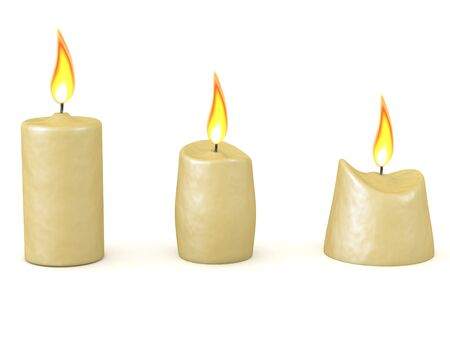 3D Rendering of candle melting over time. 3D Rendering isolated on white.