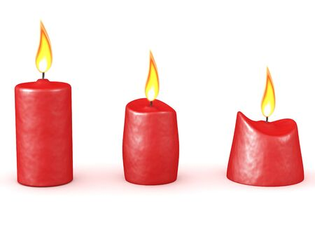 3D Rendering of three different types of candles. 3D Rendering isolated on white.