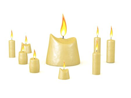3D Arranged candles. 3D Rendering isolated on white. Imagens