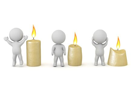 3D Candles depicting characters energy levels. 3D Rendering isolated on white. Imagens