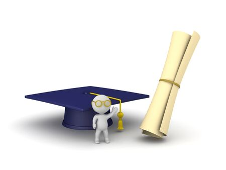 A small 3D character with a graduation hat and diploma. Isolated on white background.