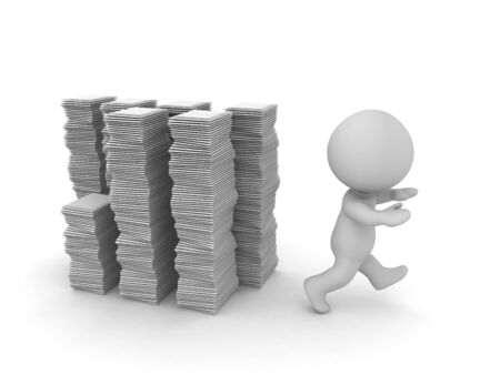 A 3D character is running away from several stacks of paperwork. Isolated on white background.