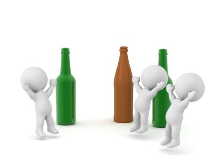 Several happy 3D characters partying with beer bottles. Isolated on white background. Stock fotó