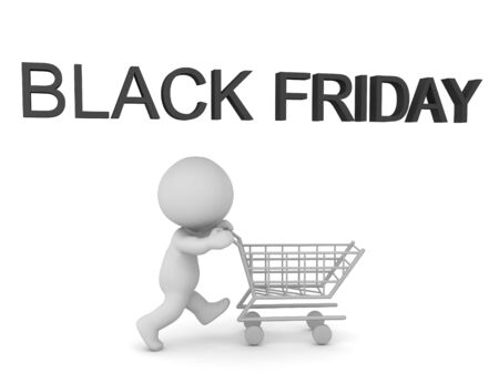 3D Text saying Black Friday and 3D Character with shopping cart. 3D Rendering isolated on white.