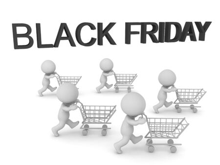 3D Concept image of Black Friday holiday event. 3D Rendering isolated on white. Stock fotó