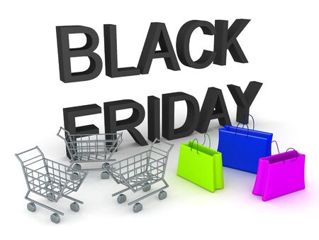 3D Rendering of shopping bags and carts next to Black Friday Text. 3D Rendering isolated on white. Stock fotó