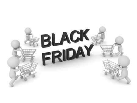 3D Rendering of shopping spree during Black friday. 3D Rendering isolated on white. Stock fotó