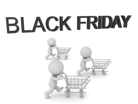 3D Text saying Black Friday and 3 Characters with shopping carts. 3D Rendering isolated on white.